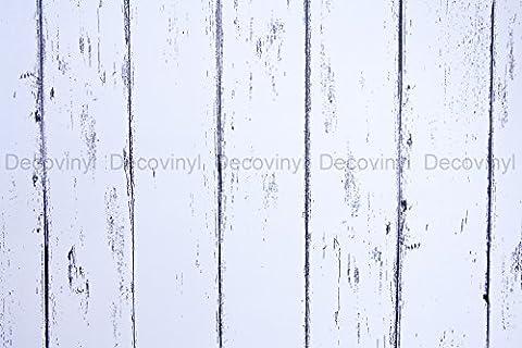 5M SHABBY CHIC PVC WHITE WORN WOOD TILES STICKY BACK PLASTIC SELF ADHESIVE VINYL