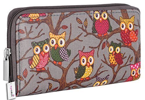 Eye Catch Porte feuille canvas imprimé hibou Riva - Femme
