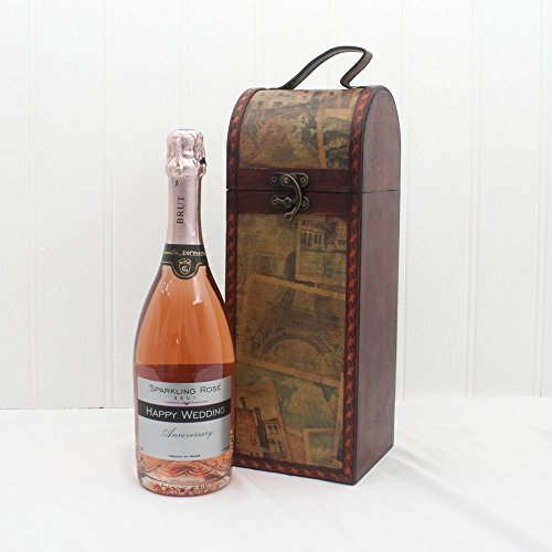 'Happy Wedding Anniversary' Presonalised Premium French Sparkling Rose Wine 750ml in a Quality Wooden Replica Vintage Style Chest - Gift Ideas for Wedding Anniversary