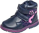 gibra® Winterstiefel Stiefel gefüttert, für Babys Kinder, mit Reißverschluss, dunkelblau/pink, Art. 8447, Gr. 20