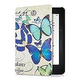 kwmobile Hülle für Amazon Kindle Voyage - Flipcover Case eReader Schutzhülle - Bookstyle Klapphülle Schmetterlinge Vintage Design Blau Mintgrün Beige