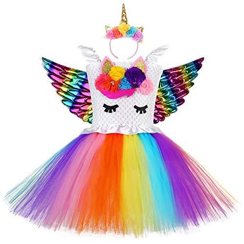 Kostüm Für Flügel Festzug - QYS Baby Girl Unicorn Kostüm Festzug 3D Flower Princess Party Tutu Kleid mit Flügeln,colorfulunicornskirt,110cm
