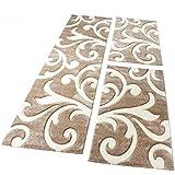 PHC Bettumrandung Läufer Teppich Modern Ranken Muster Beige Creme Läuferset 3 Tlg, Grösse:2mal 80x150 1mal 80x300