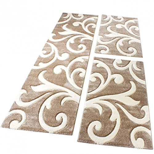 Bettumrandung Läufer Teppich Modern Ranken Muster Beige Creme Läuferset 3 Tlg., Grösse:2mal 80x150 1mal 80x300