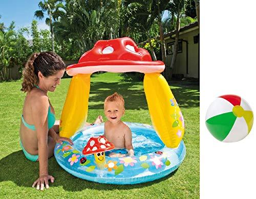 Aufblasbarer Aufstellpool Babypool Pool Planschbecken Kinderpool Kinderplanschbecken Schwimmbecken mit mit Sonnendach Dach für Baby-s Kind-er Terrasse Balkon Garten 102 x 89 cm