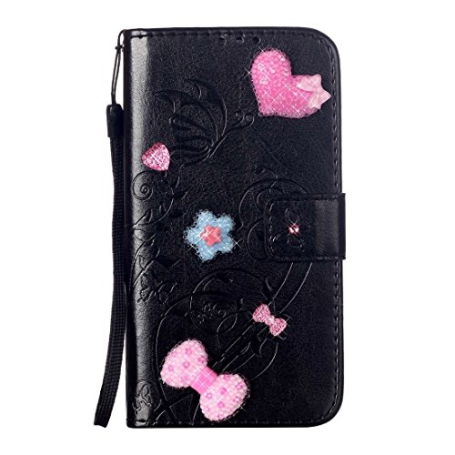 Für iPhone 7 Plus Herz Diamant verkrustete Blumen prägen horizontalen Flip Ledertasche mit Halter & Card Slots & Wallet & Lanyard für iPhone 7 Plus by diebelleu ( Color : Black ) Black
