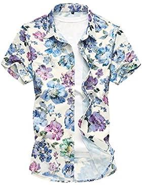 Zhuhaitf Camicia Hawaiana da Uomo Aloha Shirt M-7XL Floreale Classica Casual a Maniche Corte Mens Hawaiian Swimming...