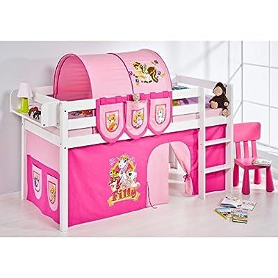 Lilo Kids cama Filly JELLE - entrepiso - blanco - con cortina