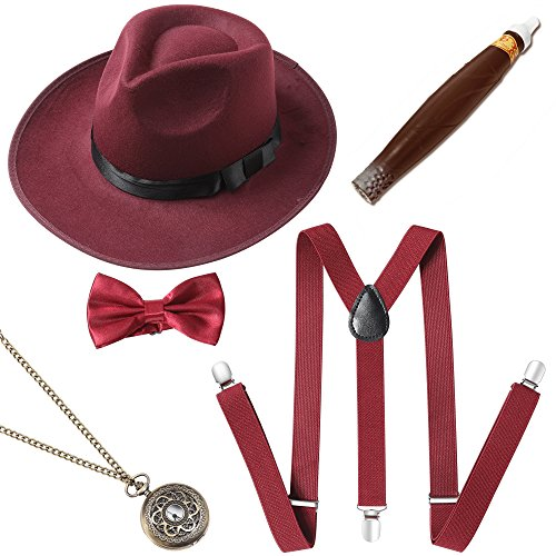 ArtiDeco 1920s Herren Accessoires Mafia Gatsby Kostüm Set Inklusive Panama Gangster Hut Verstellbar Elastisch Hosenträger Herren Halsschleife Fliege Taschenuhr und Plastik Zigarre (Set-5)