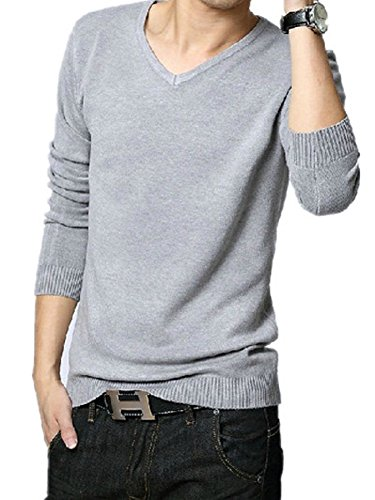 BOMOVO Herren V-Ausschnitt Strickpullover Pullover weatshirt Grau