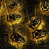 TianranRT★ Ramadan ed Eid Decor Lights Luci LED Home Festival Festa Festival Favore Nice,Stringa leggera di festival di mese santo musulmano 1,65 metri 10 luci,giallo