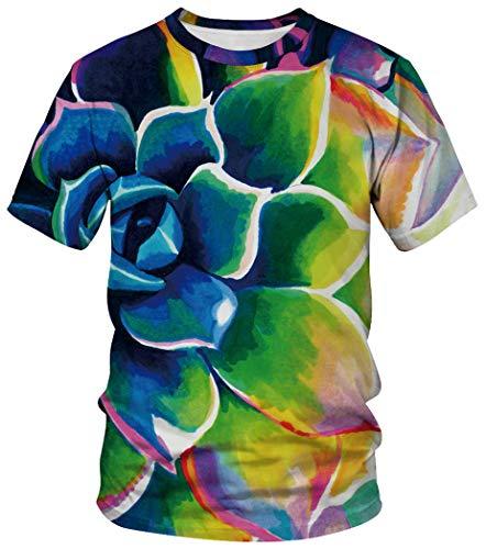 Ocean Plus Unisex Rundhals Sportswear T-Shirt Kostüm mit Aufdruck Fasching Größen S-3XL Tops mit Kurzarm (XXL (Referenzhöhe: 175-180 cm), Aquarell Blume)