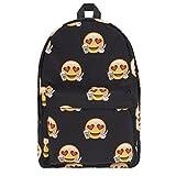Vintage Sac a dos loisir en toile Sac d'ecole Sac porte epaule, scolaire, loisirs Ordinateur Bag Backpack Emoji loves Coffee [005]