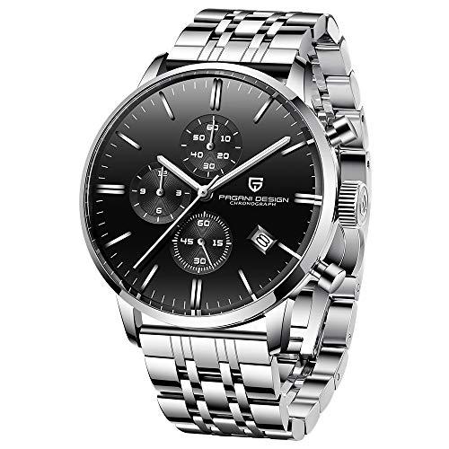 Pagani Design Business Herren Uhren Quartz Chronograph Wasserdicht Armbanduhr mit (Schwarz-1)