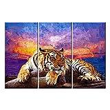 Leinwand Kunstdruck Wandbilder Gemälde für Home Decor Tiger auf Holz Colorful Sunset Glow in handbemalt 3Stück-Moderne Giclée-gespannt und gerahmt Kunstwerk die Animal Bilderrahmen Drucke Leinwand