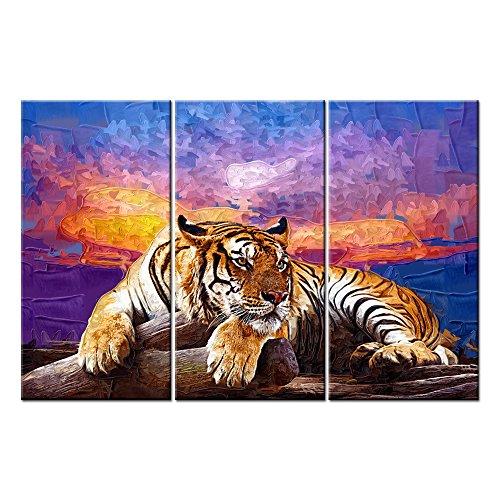 Lienzo de Pared de imágenes Cuadro Para Home Decor Tiger (en madera Colorful sunset Glow en pintados a mano 3pieza de moderna giclée de gespannt y enmarcado de arte las Impresiones de animal fotos Lienzo
