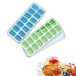 """Caratteristiche del prodotto:Colore: blu + verdeMateriale: silicone + PPcubetti di ghiaccio: 14cubetti di ghiaccio/vassoio di ghiaccio stampoPeso: 87g/setVassoio di ghiaccio Dimensioni: 10.0x """"x (25.4x 9.8x (cm)Ice Cube Size: 1.18x 1.57x polli..."""