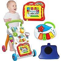 Oddity 3 in 1 Kombikinderwagen Lauflernhilfen Kinderwagen Spielzeug Anti-rollover Walker Multifunktionale Buggys Lerntisch Spielzeug für Kleinkinder Jungen Mädchen