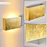Wandleuchte CROTONE aus Metall gold - Eckige Zimmerlampe für Wohnzimmer - Schlafzimmer - Flur - Ein- und Ausschalter an der Unterseite