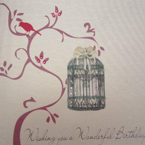 """White Cotton Cards - Biglietto di auguri di compleanno, fatto a mano, motivo: albero con gabbia vintage, scritta: """"Wishing You a Wonderful Birthday"""", 1 pezzo"""