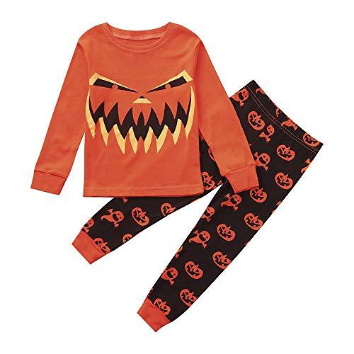 Fuibo Kleinkind Kinder Halloween Kleidung, Neugeborene Mädchen Jungen Long Sleeves Tops + Kürbis Print Hosen Halloween Kleidung Outfit Set (4T, Orange) 4t Jacke