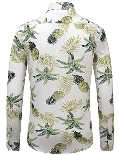 JEETOO Herren Ananas Shirts Hawaiian Style Hemd Drucken Urlaub Button Down  Kurzarm/Langarm Slim Fit ...