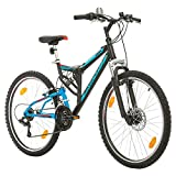 Fahrrad MTB Mountainbike Fully Full Suspension 26 Zoll Bikesport PARALLAX Shimano 18 Gang (Schwarz Blau)