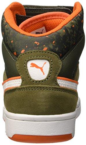 Puma Puma Rebound Street Wcamo Jr, Baskets Hautes Mixte Enfant Burnt Olive/Forest Night/Bianco/Arancione