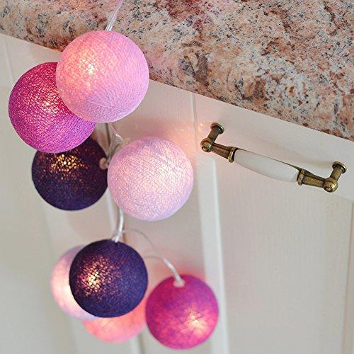 LianLe DIY 20 Stk LED Nachtlicht Deko Lichterkette Fairy Lights Kugellicht für Weihnachten Kinderzimmer Wedding Party Hochzeiten LiLa