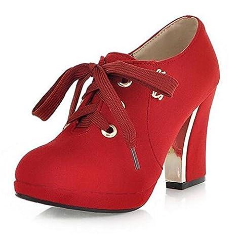 Aux femmes Stiletto Heel Mode Mid High Heel Fête Boîte de nuit Loisir Essentiel Bottines (Trois options de couleur) , Red , 41