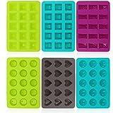 COM-FOUR 6 Silikon Formen für Pralinen, Pralinenforme für je 15 Pralinen oder Eiswürfel (06...
