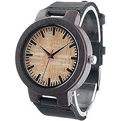 FunkyTop Herren Handarbeit Holz Bambus Holzuhr Analog Quarzwerk Uhren mit Lederband (Ebony Holz)