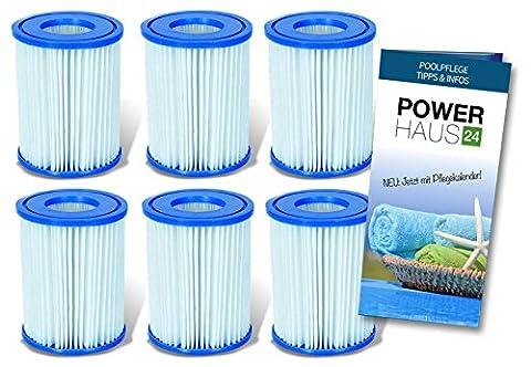 Bestway filtre à cartouche (no 58094 lot de 6)-pour pompes de filtration intex