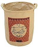 #7: HOKIPO® Laundry Basket 40-Litre European Pattern Folding Jute Laundry Hamper (Cream)