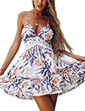 ECOWISH V Ausschnitt Kleid Damen Spitzenkleid Träger Rückenfreies kleider Sommerkleider Strandkleider Blumen XL