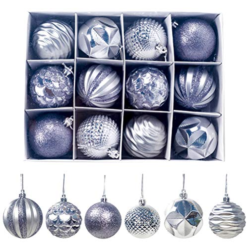 Surenhap - palline di natale da appendere, 12 pezzi argento