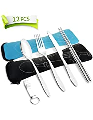 AckMond Camping Outdoor Utensils Cutlery Set of Military Grade Stainless Steel Fork, Spoon, Knife and Chopsticks
