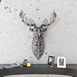 Xingshuoonline Wanddekoration Einfache Stil Kreative Hirschkopf Silbern Aluminium
