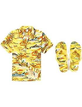 Hombres que hacen juego Hawaiian Luau Outfit Aloha Camisa de Tallas Grandes y Chanclas en Puesta de sol Amarillo