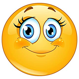 easydruck24de Smiley-Aufkleber Wimpern I kfz_245 I rund Ø 9 cm I Süßer Emoticon Sticker für Laptop Notebook Tür Roller Auto I wetterfest