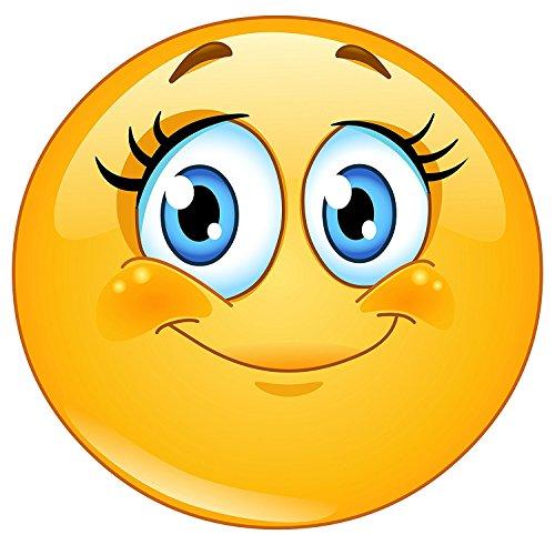 easydruck24de Smiley-Aufkleber Wimpern I kfz_245 I rund Ø 9 cm I Süßer Emoticon Sticker für Laptop Notebook Tür Roller Auto I wetterfest (Die Türen Longboard)