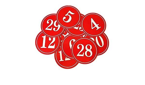 confezione da 10 pezzi Number 1to10 Red badge identificativo Aspire Targhetta numerica riutilizzabile in plastica con retro a perno numeri da 1 a 100