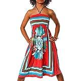 H112 Damen Sommer Aztec Bandeau Bunt Tuch Kleid Tuchkleid Strandkleid Neckholder, Farben:F-027 Rot;Größen:Einheitsgröße