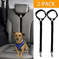 Docamor Adjustable Dog Seat Belt Dog Harness Pet Car Vehicle Seat Belt Pet Safety Leash Leads For Dogs/Cats Adjustable From 18 To 30 Inch Nylon Fabric Material Black