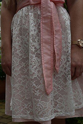 Dirndl Set Trachtenkleid 527GT Rosa mit Schleifchen Muster