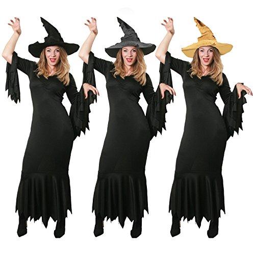 ILOVEFANCYDRESS HEXEN -Gothic Kleid MIT DREI VERSCHIEDENEN HEXEN HÜTEN = OBERHEXEN Kleid MIT Hut=KOSTÜM ERKLEIDUNG=Fasching Karneval Halloween MAGISCH =SCHWARZER ()