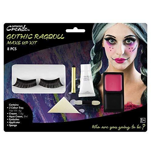 Erwachsene Damen Gotik Ragdoll Gebbrochen Puppe Make-Up Set mit Wimpern Gesichtsfarbe Halloween Kostüm Kleid Outfit Zubehör