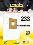 TopFilter 233, 2 sacs aspirateur pour Carrefour Home  boîte de sacs d'aspiration en non-tissé, 2 sacs à poussière (30 x 26 x 0,1 cm)