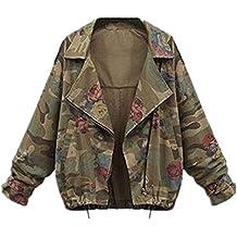 Tayaho Chaquetas Mujer Jacket Mangas Largas de Murciélago Outwear Suelto Universidad Abrigos Deportivo Guays Chaquetas Camuflaje Top Impresa Flores Coat Joven