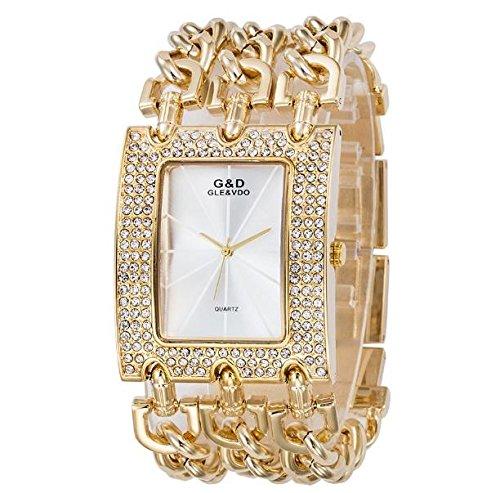 Weißes Athletisches Band (Sheli Damen Armbanduhr Diamanten Gold Urlaub Geschenk für Weihnachten Danksagung Halloween Armbanduhre)